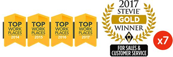 Top place to work logo and stevie award winner