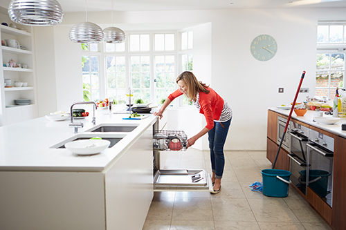Women opening dishwasher in kitchen