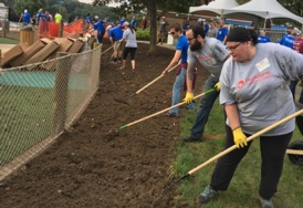 Employees rebuilding the Cranberry Township Park in PA