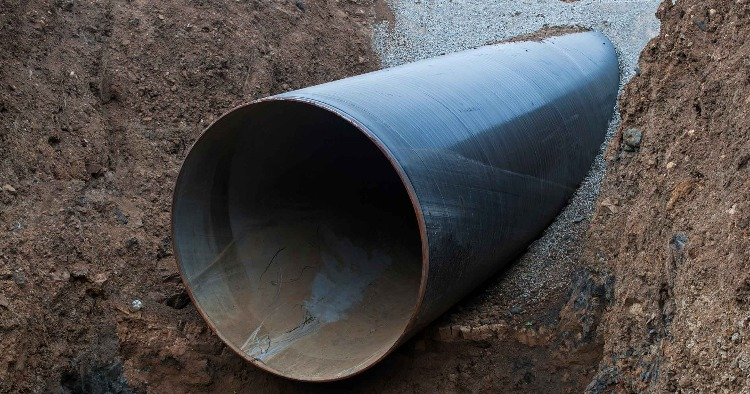 Closeup of a sewer pipe