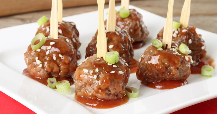 Sweet and sour meatballs on serving dish