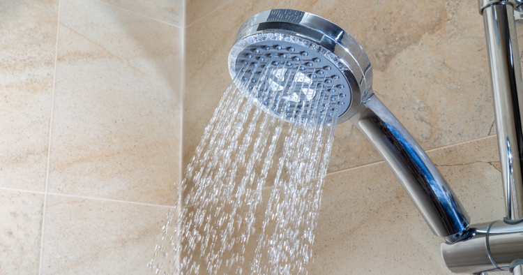 Shower head streaming water