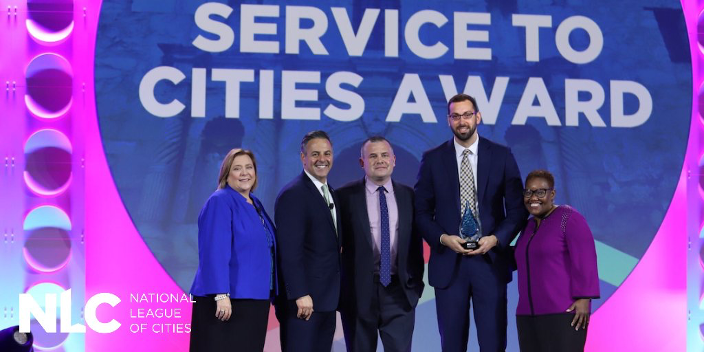 "National League of Cities (NLC) presented HomeServe USA with its distinguished ""Service to Cities Award"" at the 2019 NLC City Summit in San Antonio"