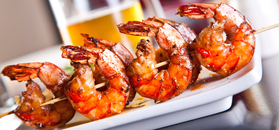 BBQ king prawns with garlic and ginger