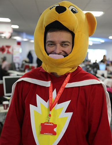 A HomeServe employee dressed as SuperTed