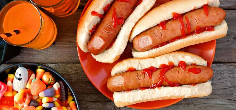 Severed fingers made from hot dogs