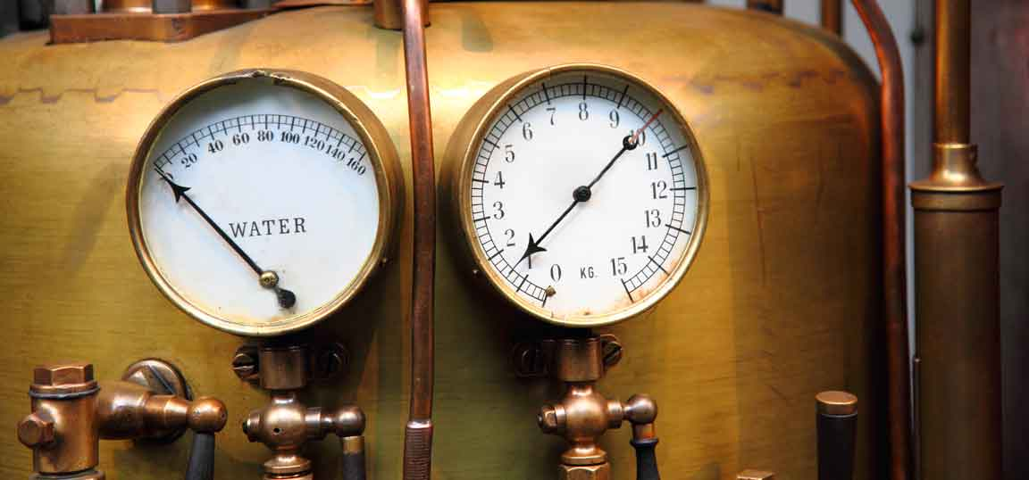 Dials on an old boiler