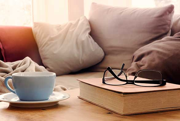 Reading glasses and a cuppa