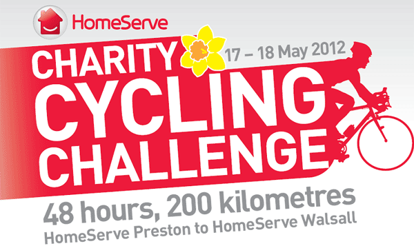 HomeServe Charity Cycling Challenge. 48 hours, 200 kilometres. HomeServe Preston to HomeServe Walsall