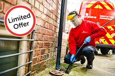 HomeServe approved Plumber fixing drains and roundel saying 'Limited Offer'