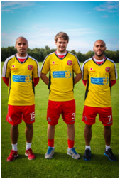 James Chambers, Andy Taylor and team captain Adam Chambers wearing the unique,      Marie Curie yellow warm-up shirts.