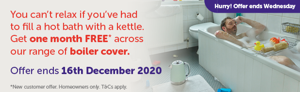 Man in bathtub - One month FREE across our range of boiler cover.