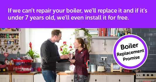 Boiler replacement promise. If we can't repair your boiler, we'll replace it and if it's under 7 years old, we'll even install it for free.