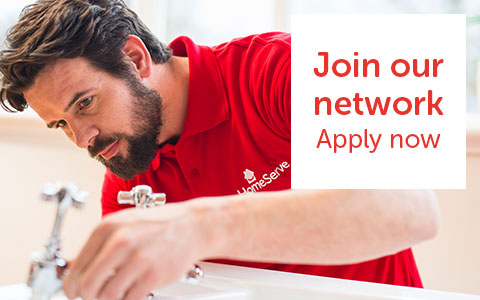 HomeServe Plumber fixing tap. Join our network - Apply now