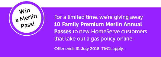 Win a Merlin Pass! For a limited time, we're giving away 10 Family Premium Merlin Annual Passes to new HomeServe customers that take out a gas policy online. Offer ends 31 July 2018. T&Cs apply.