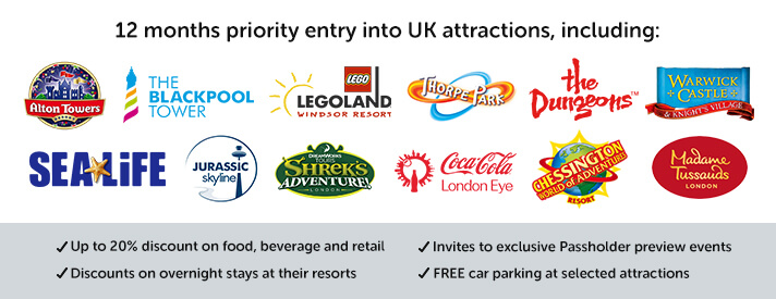 12 months priority entry into a number of UK attractions, up to 20% discount on food, beverage and retail, discounts on overnight stays at their resorts, invites to exclusive Passholder preview events, FREE car parking at selected attractions.
