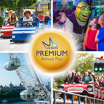 Images of London Eye, Legoland, Shrek Adventures, Thorpe Park and the Merlin Premium Annual Pass logo